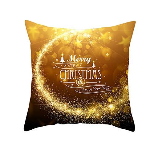Iusun Merry Christmas Pillow Covers Glitter Polyester 17.72 Inches Square Print Waist Throw Pillowcase Fall Winter Autumn Season Decor Sofa Home Decorative Cushion Covers (M)