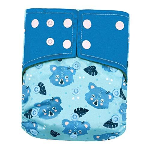 #N/A Pañal de Tela para Bebé Pañales Todo en 1 Pañal Reutilizable Resistente al Agua Pañales Inserto para Niños 0-2 Años - Azul