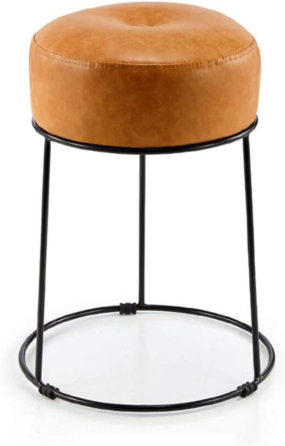 Bar Stool Chair- Stool, Simple Home Living Room Sofa Stool Breakfast Stool Soft seat Wrought Iron Small Stool (color   D)