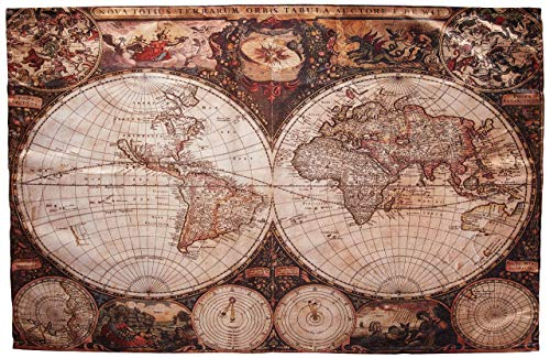 Tapestry Wall Hanging, World Map Tapestry Vintage Wanderlust Decor Image Of Old Map In 1720S Nostalgic Style Art Historical Atlas Decor Art Brown Beige Wall Decor for Living Room Bedroom 59.1x39.4'