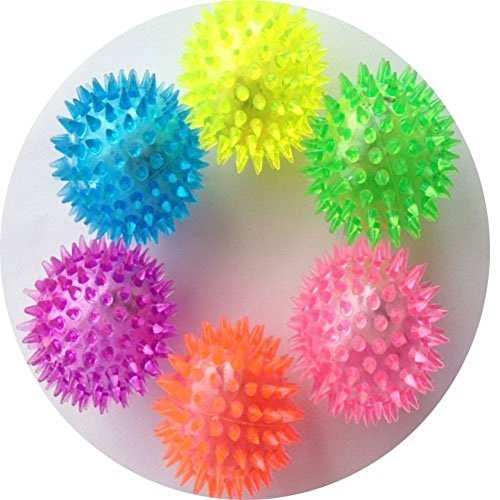 Elife 6pcs Assorted Color Elastic Light-up Spike Ball with LED flash light up for fun/Games