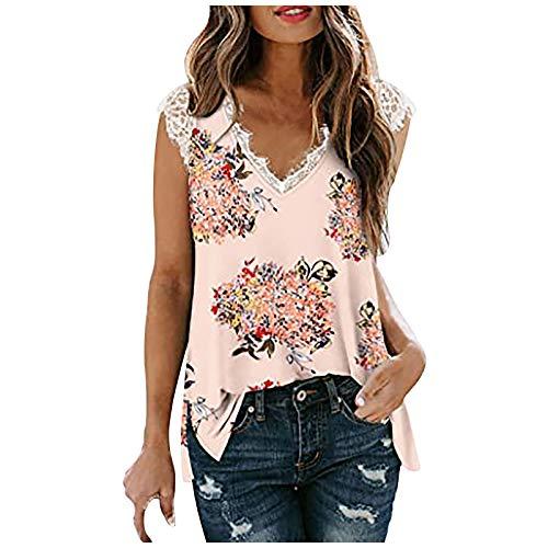 Girl T-Shirts, Girl Top, Women's Sleeveless Lace T-Shirt Fashion Print Blouse Tunic V Neck Side Slit Sleeveless T-Shirt - Multicolour - XXL