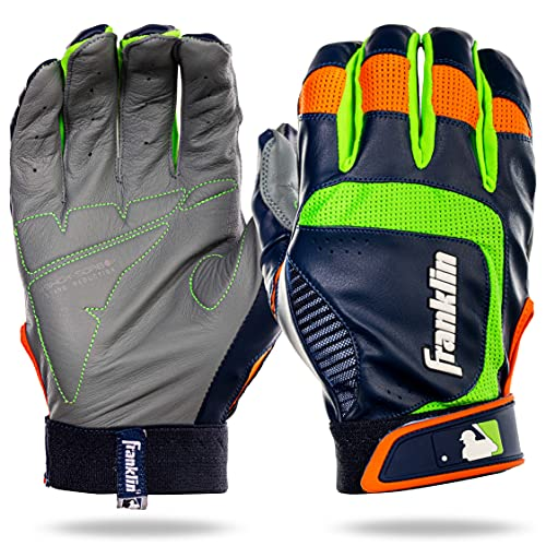 Franklin Sports Youth MLB Shok-Sorb Neo Batting Gloves, Youth Small, Pair, Gray/Navy/Lime