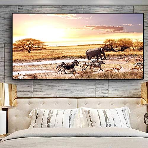 ganlanshu Rahmenloses Gemälde Schwarzafrikanischer Elefant-Wildtierplakat und Druckgrafik-Leinwand-WandkunstCGQ7346 30X60cm
