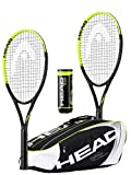 HEAD Tour Pro Nano Lot de 2 raquettes de tennis en titane avec sac de tennis Head Djokovic et 3 balles de tennis Head Team