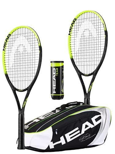 HEAD Tour Pro Nano Titanium - Juego de raqueta de tenis (incluye bolsa de tenis HEAD Djokovic y 3 pelotas de tenis para equipo