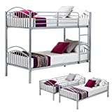 mecor Twin Over Twin Bunk Beds-Convertible Metal Bunk Bed Frame with Movable Ladder, Metal Slats for Kids/Adult Children,Sliver