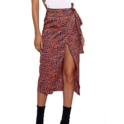 FRAUIT dames taille knopen luipaardpatroon High Waist Wrap Split Rok lang wikkelrok zomerrok A-lijn plooirok casual Maxi strandrok met zakken
