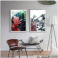 壁の芸術、抽象的な花北欧のポスターキャンバス絵画壁の装飾現代の家の装飾のための芸術の写真フレームなし