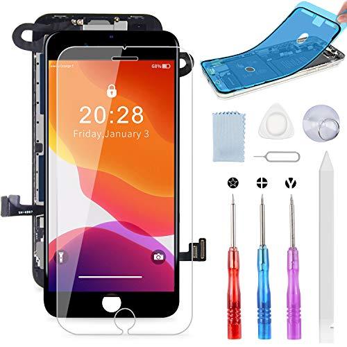 Beefix kompatibel mit iPhone 8 Display Schwarz, LCD Touchscreen Digitizer Display, Ersatz Bildschirm, inkl. integrierte Frontkamera, Glas, Komplettes Kostenlose Werkzeug
