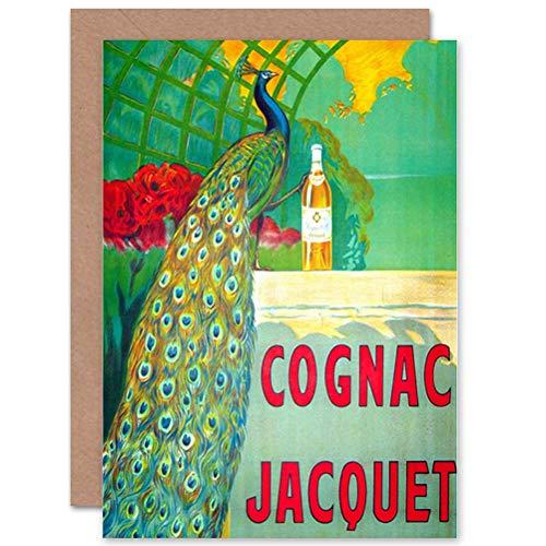 Wee Blue Coo ADVERT COGNAC DRINK BEVERAGE PEACOCK BIRTHDAY BLANK GREETINGS KAART