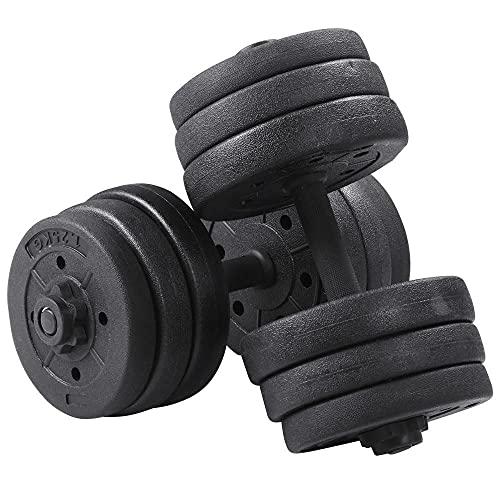 Yaheetech Lot de 2 Haltères Réglables Haltères Courts 20kg pour Entraînement Musculaire Noir