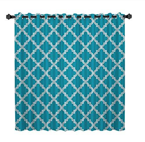 WKJHDFGB Blaue Marokkanische Geometrische Karos Vorhänge Fenster Dunkle Wohnzimmer Blackout Indoor Floral Stoff Dekor Kinder Vorhang Panels Mit 135 X 135Cm