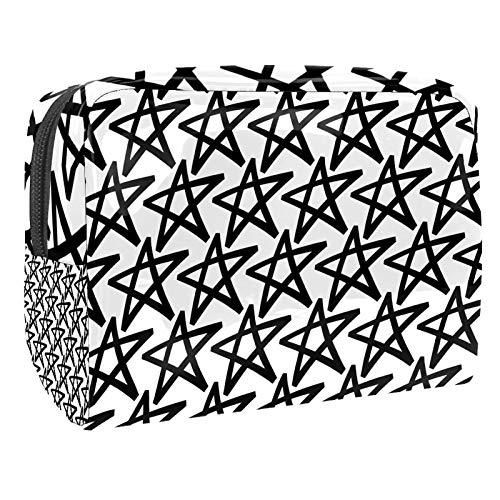 Bolsa de maquillaje portátil con cremallera bolsa de aseo de viaje para mujeres práctico almacenamiento cosmético bolsa de mano Dibujar negro blanco estrellas patrón