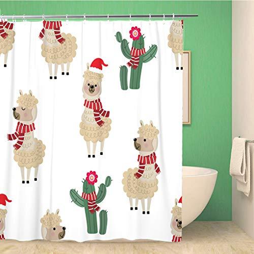 Awowee Decor Douchegordijn Leuke Alpaca Draag Kerst Kostuum en Cactus Dier 152x180cm Polyester Stof Waterdichte Badgordijnen Set met Haken voor Badkamer