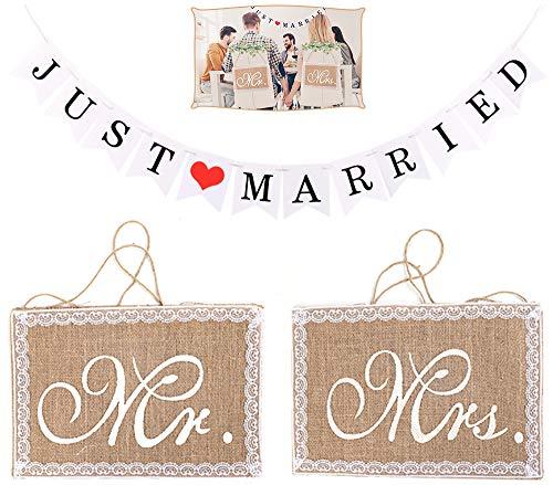 Chingde Mr und Mrs Stuhlschilder, Just Married Banner Flaggen, Mr und Mrs Hochzeit Spitze Sackleinen Mr und Mrs Banner Just Married Deko Hochzeit Party Dekoration