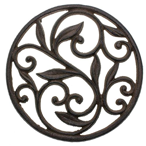 "Cast Iron Trivet - Round with Vintage Pattern - Decorative Cast Iron Trivet For Kitchen Or Dining Table - 7.7"" Diameter - Rust Brown Color - With Rubber Pegs"