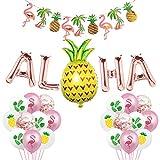Hawaiian Aloha Party Decorations, Rose Gold Aloha Balloons Aloha Flamingo Pineapple Palm Tree Leaves Banner Tiki Tropical Luau Theme Summer Beach Pool Party Supplies