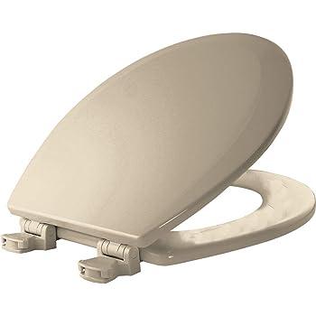 Bemis Toilet Seat Round Elongated Easy Clean Change Hinges Durable Enameled Wood