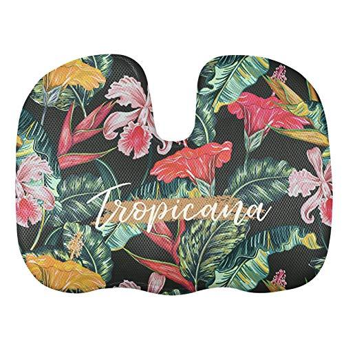 Agroupdream - Cojín de asiento para mujer, resistente, en forma de U, para casa, oficina, coche, avión, asiento de hibisco, palma tropical