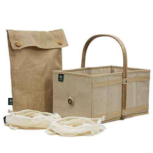 achilles Handle-Box Natur Einkaufs-Korb mit Obst- und Gemüse-Beutel-Netz Natur-Korb mit Holz-Griff Öko-Korb Falt-Tasche Bio-Shopper Klapp-Box Trage-Korb 40 cm x 24 cm x 20 cm