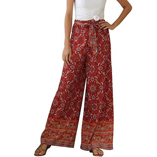 Pantalon Large Fluide Femme été Femme Fleur Vintage Pantalon de Sport Longue Lâche Fitness Yoga Gym Jogging Pantalon