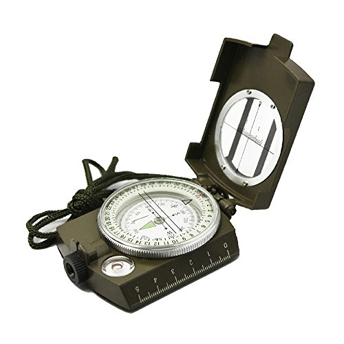 Ueasy Military Compass, Prismatic Sighting Compass - Magnetic Waterproof Hand Held Professional Compass for Boy Scouts Hunting Camping Sailing Navigation...