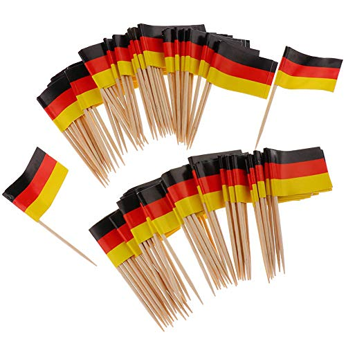 Ruiting Mini-Flagge Zahnstocher 100Pcs Deutschland Flagge Kuchen Auswahl Internationale Events Cocktail-Stock-Flagge Obst Lebensmittel Auswahl