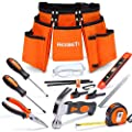 """REXBETI 15pcs Young Builder's Tool Set with Real Hand Tools, Reinforced Kids Tool Belt, Waist 20""""-32"""", Kids Learning Tool Kit for Home DIY and Woodworking"""
