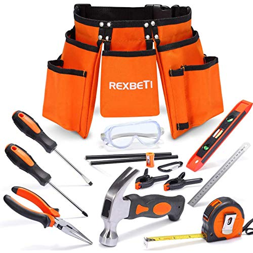 REXBETI 15pcs Young Builder's Tool Set...
