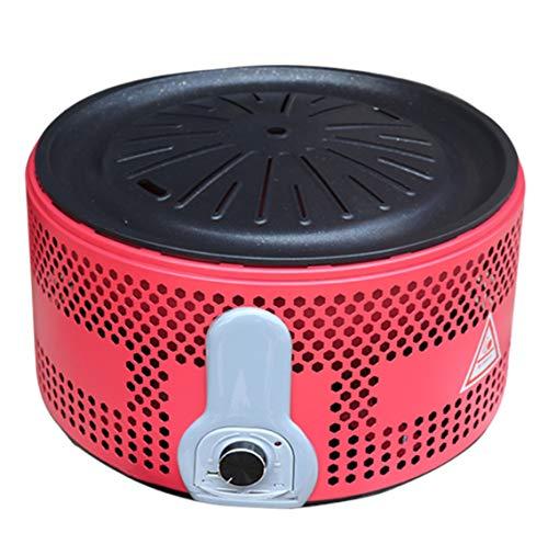 GJ688 Estufa Redonda sin Humo Parrilla Barbacoa de carbón para Las Herramientas de Interior y Exterior de Cocina Comida campestre Que acampa,Rojo