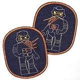Flicken zum aufbügeln für Kinder groß Set Roboter 12 x 10 cm retro XL Knieflicken aus Jeans blau orangener Rand 2 Aufbuegler Jeans Bügelbilder Applikation
