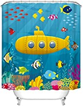 Fangkun Children's Cartoon Submarine Design Shower Curtain Art Bathroom Decor - Waterproof Polyester Fabric Bath Curtains Set - 12pcs Hooks - 72 x 72 inches