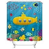 Fangkun Duschvorhang-Set mit Cartoon-U-Boot-Design, wasserdicht, Polyester, 12 Haken, 183 x 183 cm