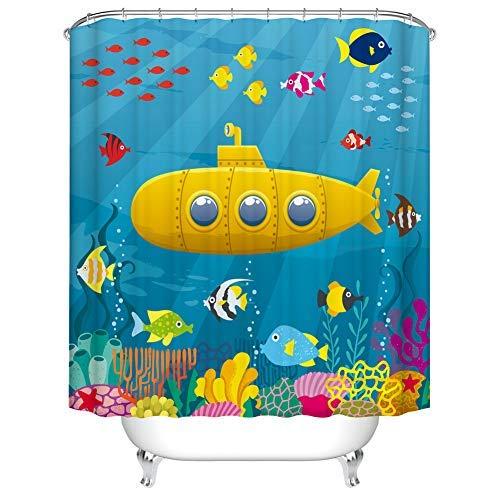 Fangkun Cartoon Submarine Design Shower Curtain Art Bathroom Decor - Waterproof Polyester Fabric Bath Curtains Set - 12pcs Hooks - 72 x 72 inches