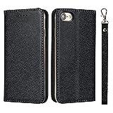 HHF Teléfono móvil Accesorios para iPhone 7, Folio del Caso del tirón con Pata de Cabra y la Correa de Mano, Seda Textura PU Caja de la Carpeta de Cuero para el iPhone 7 (Color : Negro)