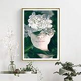 HGlSG Sin Marco Planta Verde Belleza Arte impresión Moda Lienzo Cartel salón Dormitorio Cartel decoración60x90cm