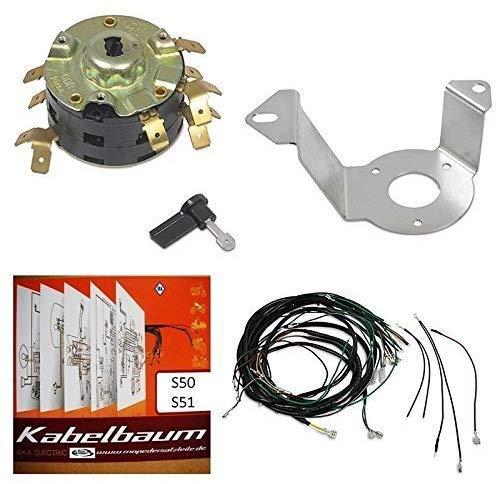 Set: Kabelbaum + A4 Schaltplan farbig + Zündschloss + Zündschlosshalter + Zündschlüssel für Simson S50 S51 S70