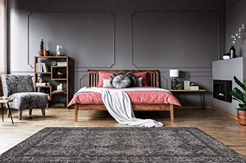 One Couture Jacquard Teppich Ranken Schnörkel Vintage Design Grobe Struktur Grau Schwarz Wohnzimmerteppich Esszimmerteppich Teppichläufer Flur-Läufer, Größe:80cm x 150cm