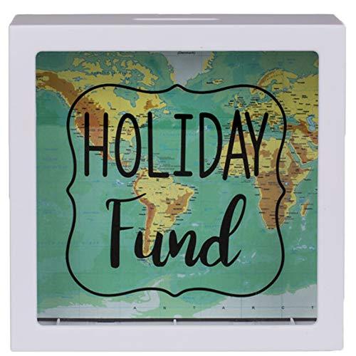 Bada Bing Spardose Urlaubskasse Holiday Fund Ca. 15 x 15 cm Bilderrahmen Weiß Reisekasse Mit Weltkarte Hochzeitsreise Geschenk Geldgeschenk 15
