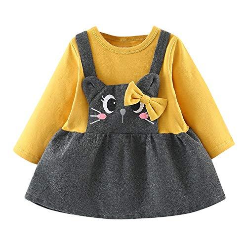 Logobeing Ropa Bebe Niña Manga Larga Arco de Dibujos Animados Gato Impresión Fiesta Princesa Vestido Tops Vestido de Fiesta Princesa (3-6 Mes, Amarillo)