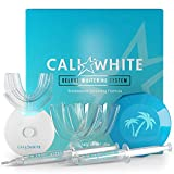 Cali White Vegan Teeth Whitening Kit with LED Light, Made in USA, Natural & Organic Peroxide Gel, Professional Dental Whitener, Best Home System: 2 X 5mL Syringes, Custom Trays, Retainer Case