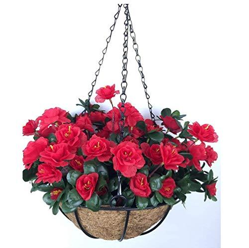 Yosposs Fleurs Artificielles à suspendre paniers Kz9524-w772 extérieur artificielle Rouge Azalée Bush Fleur Patio pelouse Jardin Panier à suspendre avec chaîne Pot de fleurs, Jaune extérieur/intérieur Pour Maison/décoration de jardin