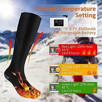 Chaussettes Chauffantes pour Femmes Et Hommes, Piles Rechargeables 3.7V 3500mAh Chaussettes Chauffantes, Noires -L