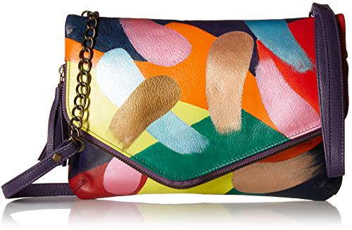 Anuschka Women's small Leather Hand Painted Clutch bag, Painterly Palette