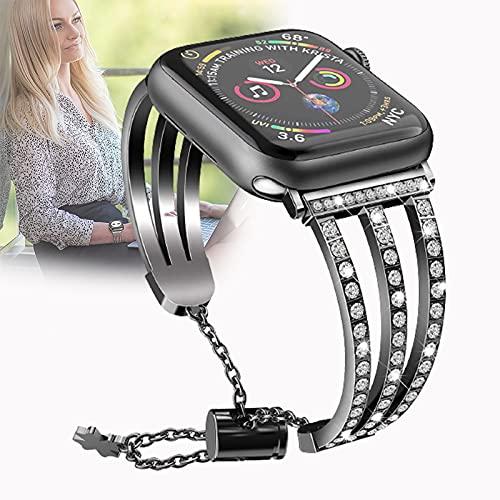 Compatible con Apple Watch 38 mm 40 mm 42 mm 44 mm, Correa de Repuesto Deportiva de Acero Inoxidable para Pulsera para iWatch Series 6/5/4/3/2/1, SE,38mm/40mm