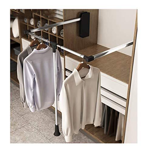 RHSMW Wardrobe Lift, 60-83cm Einstellbar Garderobenlift, Faltbar Kleiderschrank Kleiderbügel, Gewichtskapazität 10 Kg,Schwarz,60~83cm