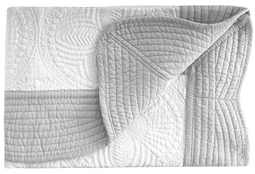 ASHOPZ Lightweight All Weather Embossed Cotton Quilt for Baby and Infant, White-Grey, 36 inches x48 inches