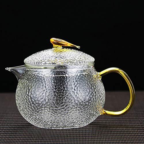 Cqing Teekanne Glas Teekanne Japanische Teekanne Teekannen für Kochplatte mit Infuser Teekanne Set für Familien Freund Kinderherd mit Sieb Infuser,Gelb