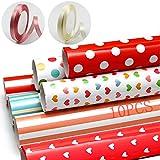 Geschenkpapier, 10 Stück Geschenkpapier Geburtstag und 2 Rolle Band,Geschenkverpackung Papier für...
